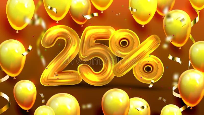 El veinticinco por ciento o vector de comercialización de la oferta 25 libre illustration