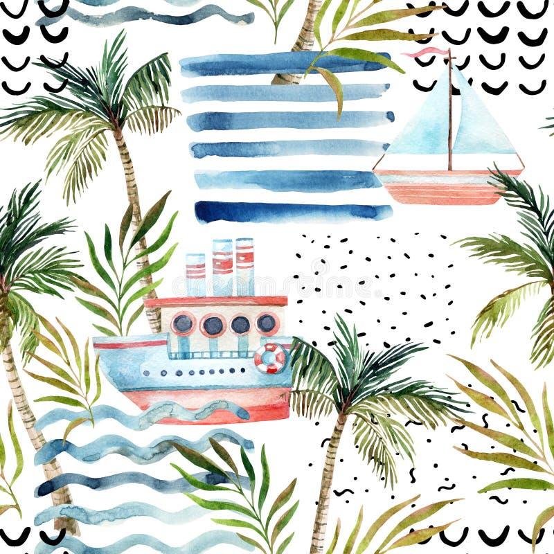 El velero de la acuarela, nave, palmera, hojas, grunge texturiza, los garabatos, movimientos del cepillo stock de ilustración