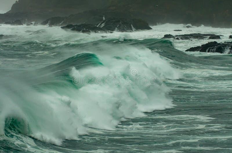 El vendaval y la inflamación grande traen ondas grandes a la costa de Oregon fotografía de archivo