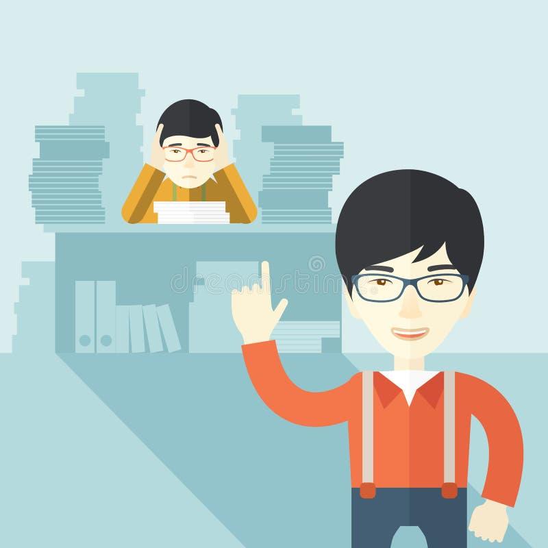 El vendedor de oficina asiático tiene muchos trabajos stock de ilustración