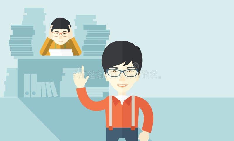 El vendedor de oficina asiático tiene muchos trabajos libre illustration