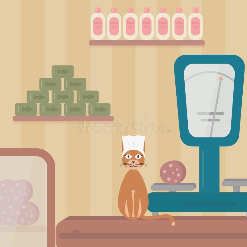 El vendedor del gato, gato vende las salchichas ilustración del vector