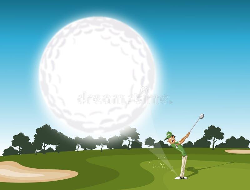 El venir de la pelota de golf stock de ilustración