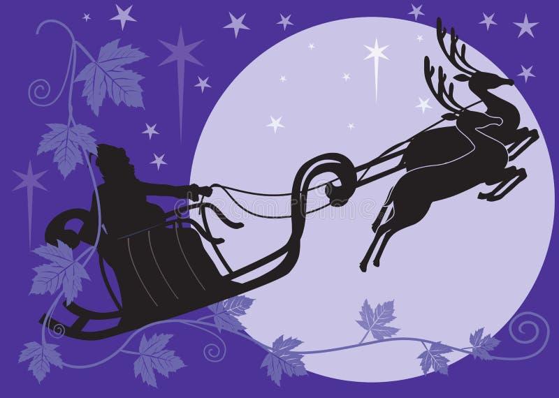 El venir de Papá Noel ilustración del vector