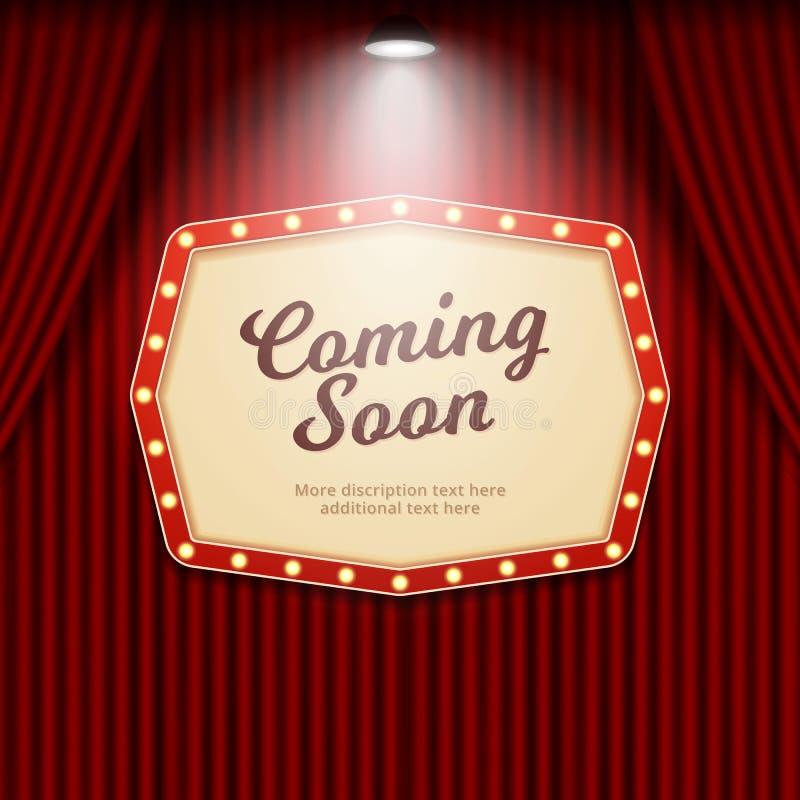 El venir muestra pronto retra del teatro iluminada por el proyector en el ejemplo del vector del fondo de la cortina del cine stock de ilustración