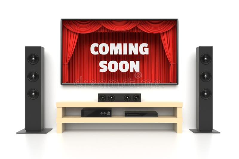 El venir pronto cartel con el cine casero libre illustration