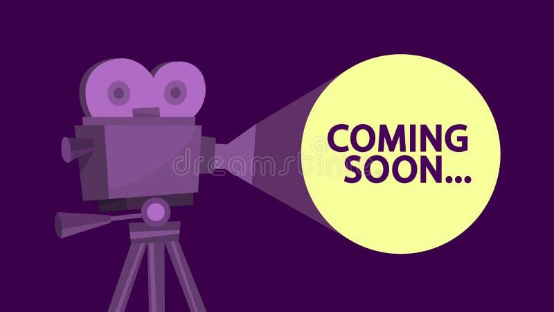 El venir pronto mensaje en la pantalla del cine Idea de la película stock de ilustración
