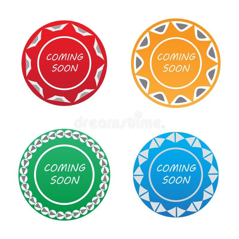 El venir pronto sistema de etiqueta de la insignia libre illustration
