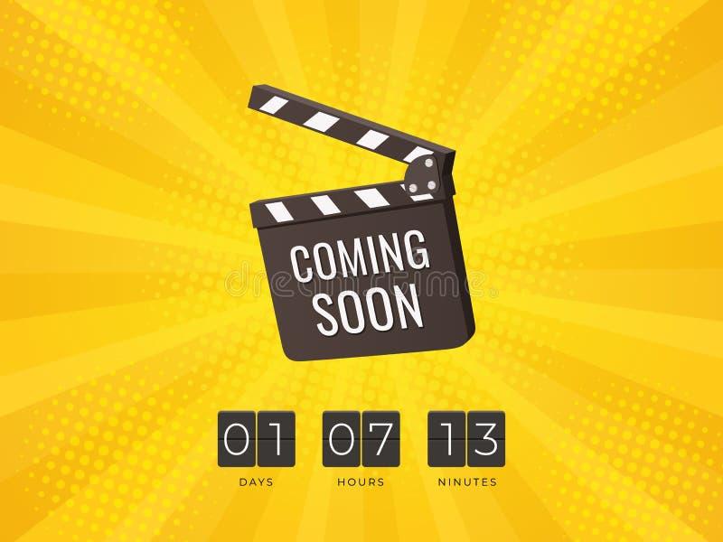 El venir pronto tablero de chapaleta con Flip Countdown Clock en fondo amarillo libre illustration