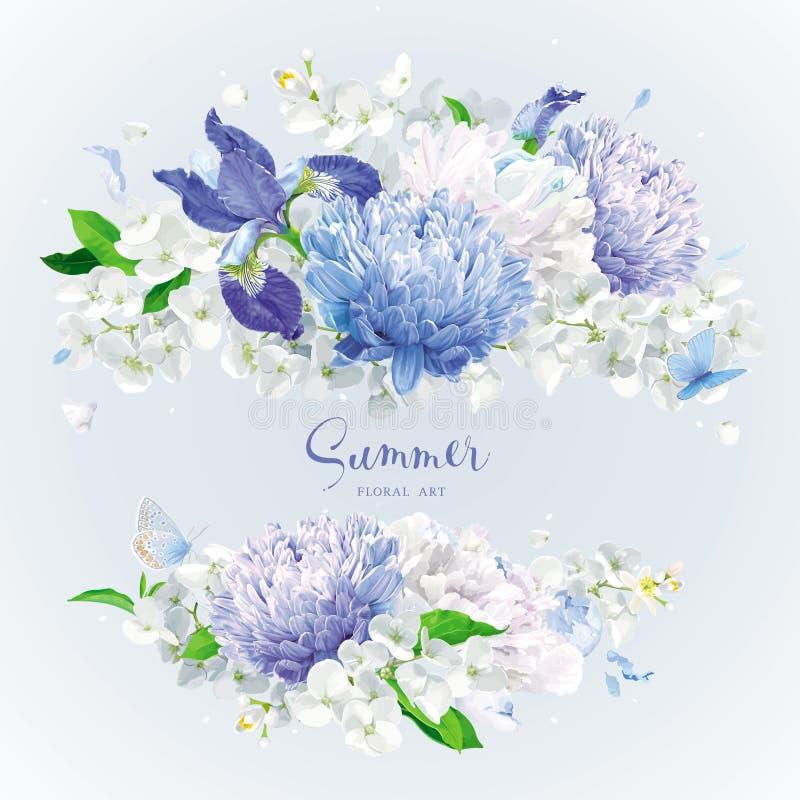 El verano blanco y azul florece el ramo stock de ilustración