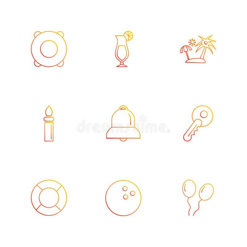el verano, comidas, vications, juegos, iconos del EPS fijó vector stock de ilustración