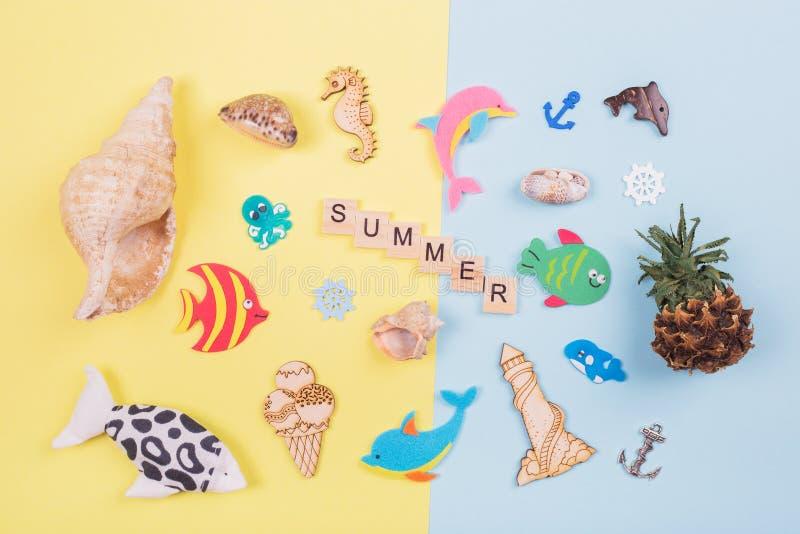 El verano de la inscripción, tema del mar foto de archivo libre de regalías