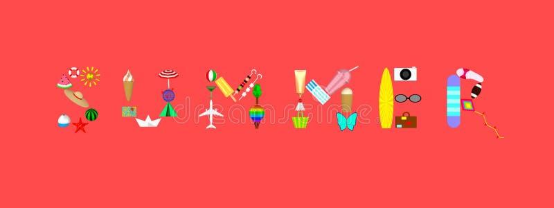 El verano de la palabra consiste en cualidades del día de fiesta en el ejemplo coralino del fondo 3D foto de archivo libre de regalías