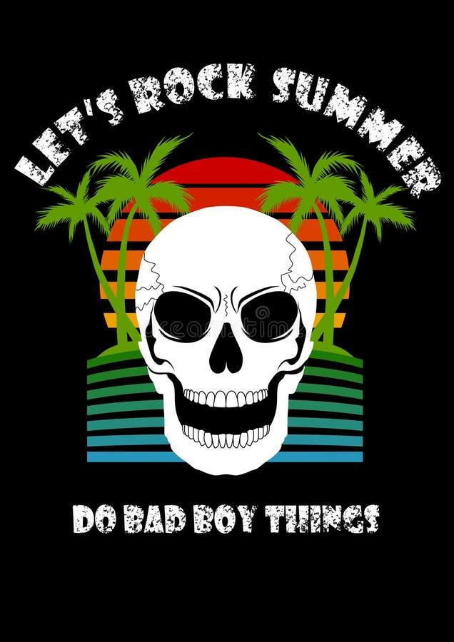 El verano de la playa del árbol de coco del cráneo nos dejó oscilar hace cosa del chico malo ilustración del vector