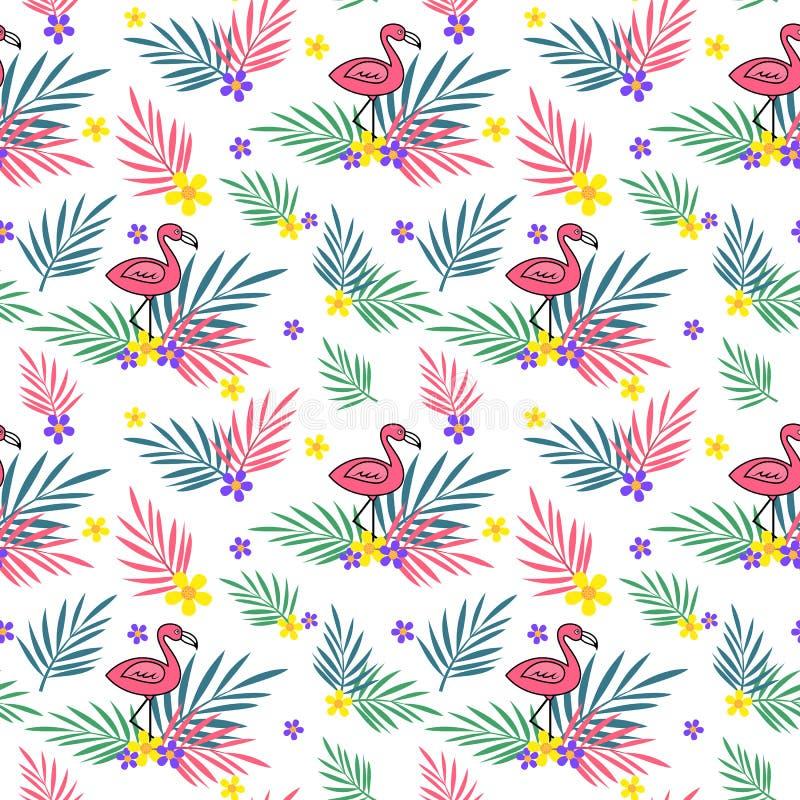 El verano deja el modelo inconsútil con el flamenco y las flores ilustración del vector