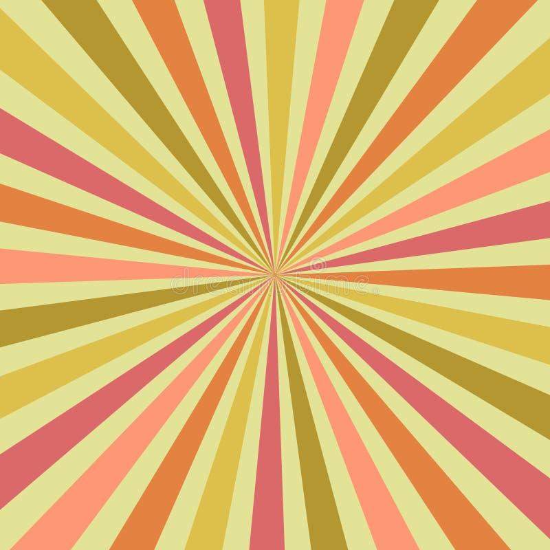El verano del extracto estalló rayos del resplandor solar en las sombras amarillas, rojas y anaranjadas del centro, vector retro  stock de ilustración