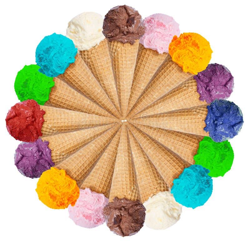El verano del helado del cono del helado del círculo de la colección de la cucharada del helado es fotografía de archivo