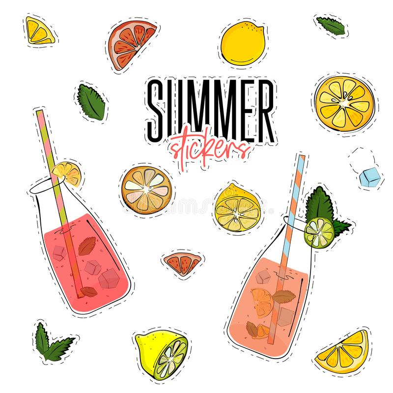 El verano del vector fijó con el tarro de la limonada, los limones, la menta, los cubos de hielo y las naranjas Etiquetas engomad ilustración del vector