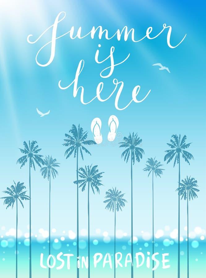 El verano está aquí cartel con caligrafía manuscrita libre illustration