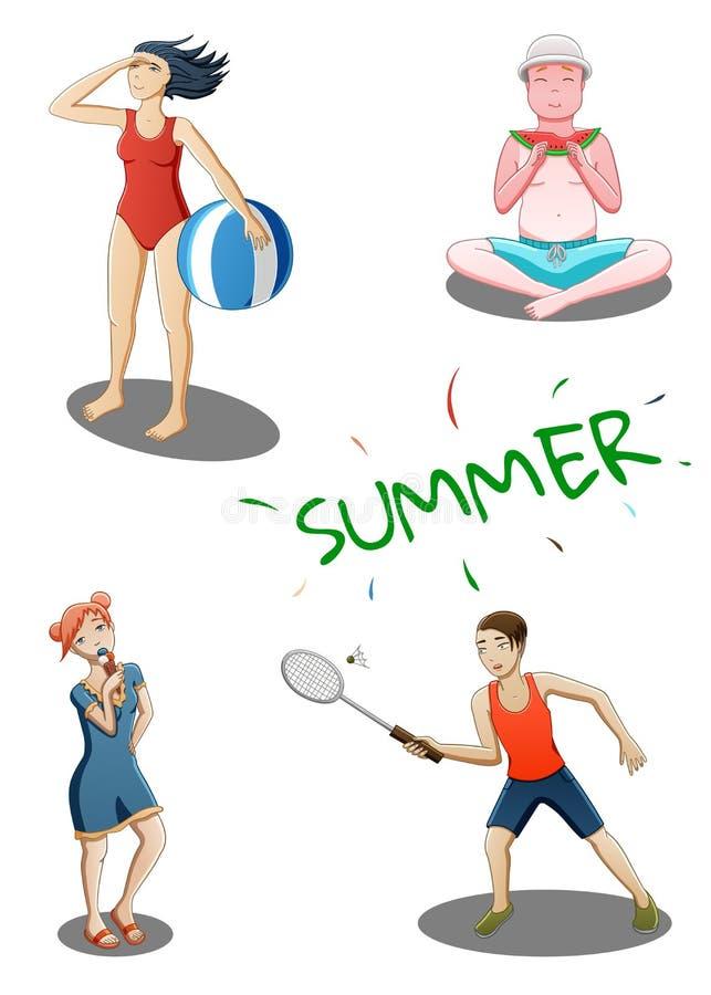 El verano fijó de cuatro personas stock de ilustración
