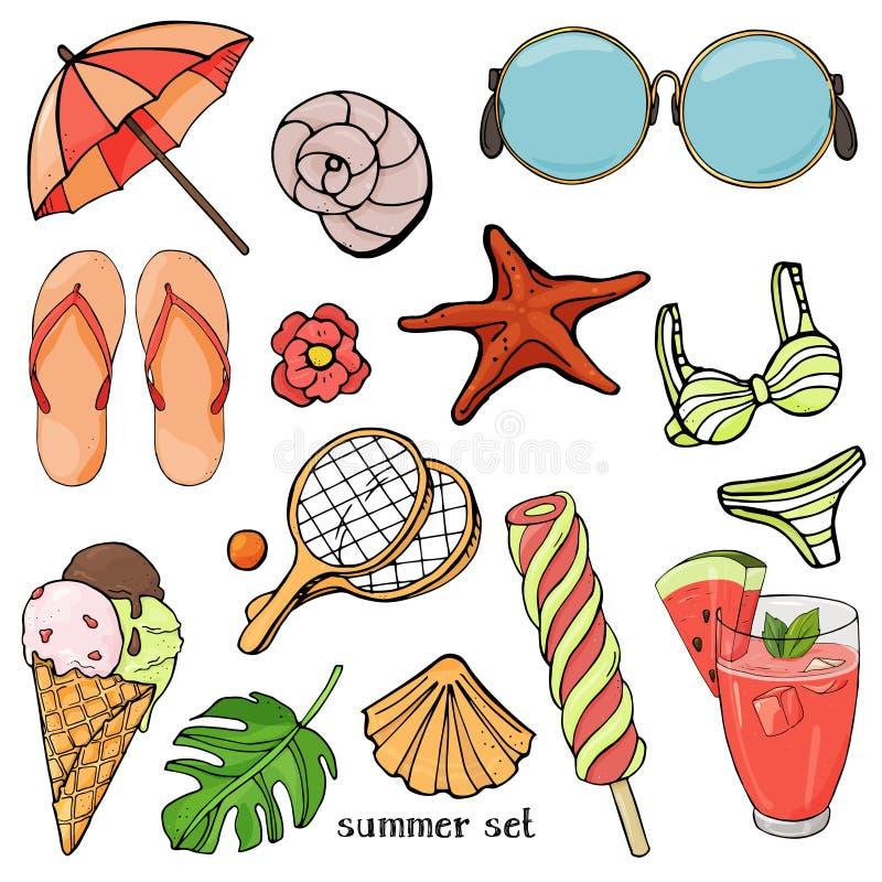El verano fijó en el tema de los días de fiesta de la playa y de las comidas del verano Artículos coloridos de la playa en estilo ilustración del vector