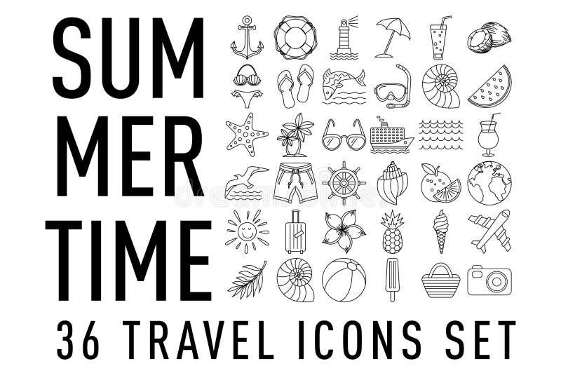 El verano fij? de 36 iconos del viaje, l?nea estilo fina, d?a de fiesta del esquema del ejemplo del vector bosquejo negro libre illustration