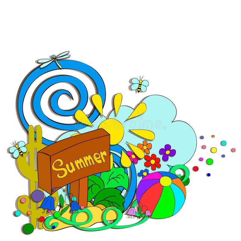 El verano garabatea con las flores, las letras y remolino stock de ilustración