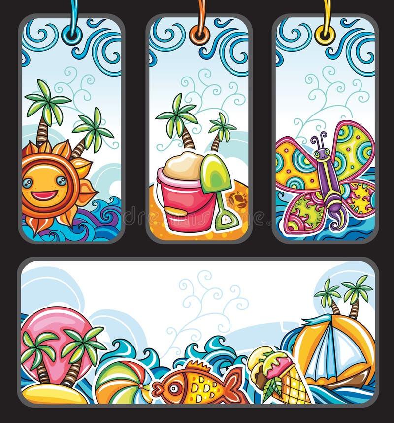 El verano marca serie con etiqueta libre illustration