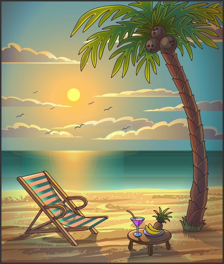 El verano relaja el fondo Puesta del sol en la playa libre illustration