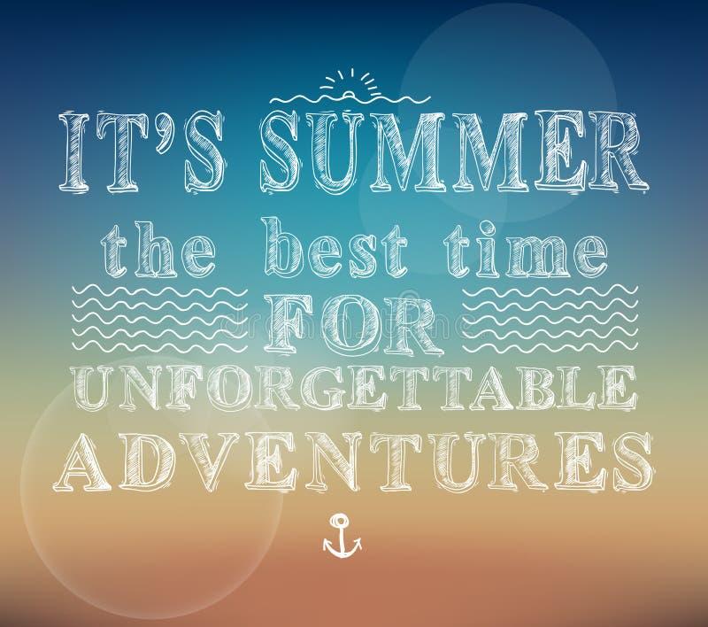El verano se aventura el cartel ilustración del vector