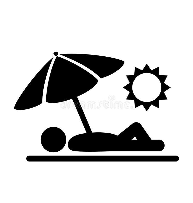 El verano se relaja tomando el sol los iconos planos de la gente de los pictogramas aislados ilustración del vector