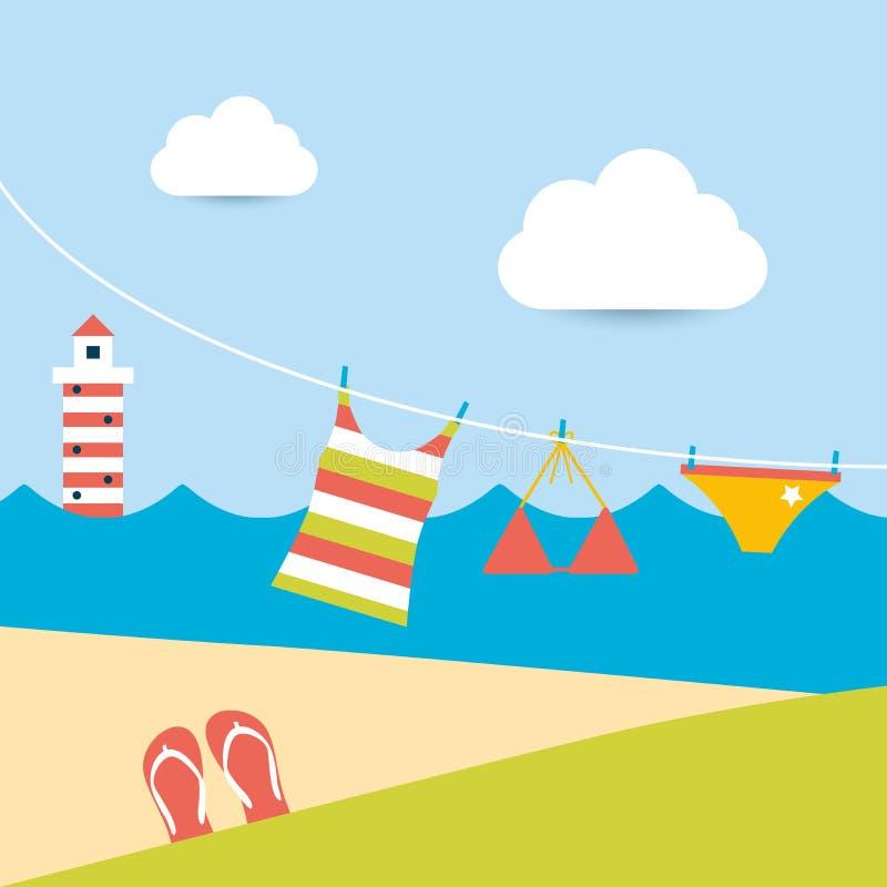 Download El Verano Viste La Ejecución En La Línea Que Se Lava Ilustración del Vector - Ilustración de océano, clothesline: 42443510