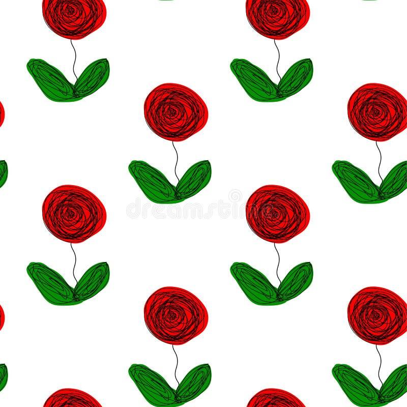 El verde abstracto dibujado mano repetidor floral inconsútil de las rosas del modelo deja el fondo blanco, materia textil, edredó ilustración del vector