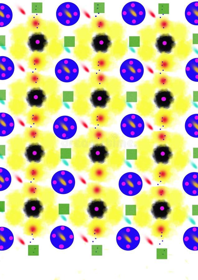 el verde cuadrado azul de la flor del amarillo del círculo medio abstracto del negro coloreó el punto de la rociada imagen de archivo libre de regalías