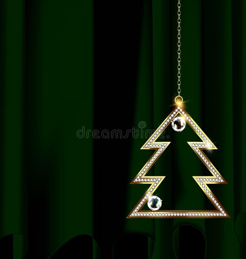 El verde cubre con el árbol de navidad de la joya libre illustration