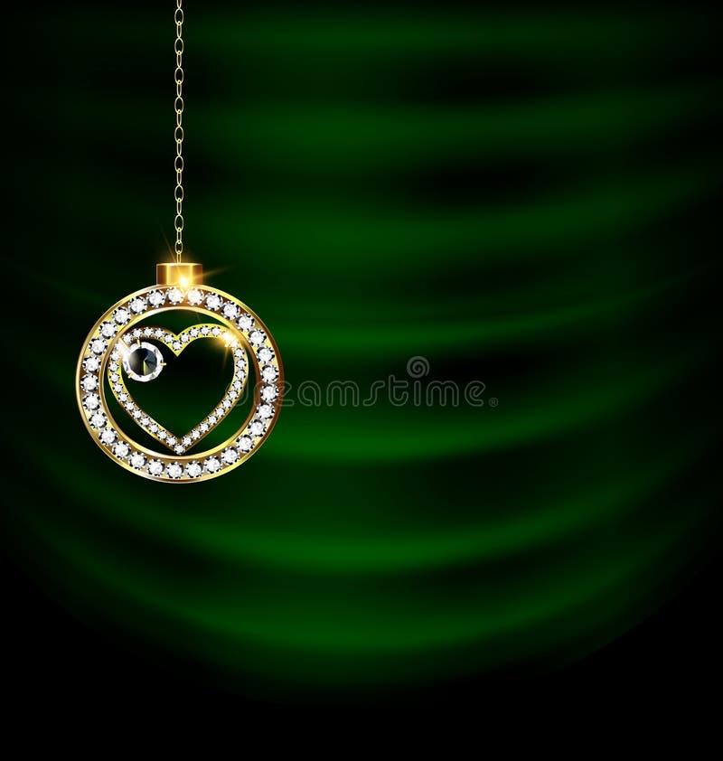 El verde cubre con el corazón de la Navidad de la joya libre illustration