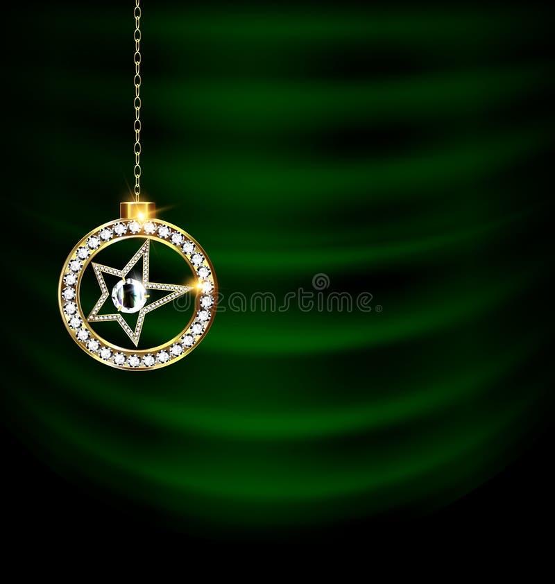 El verde cubre con la estrella de la Navidad de la joya ilustración del vector