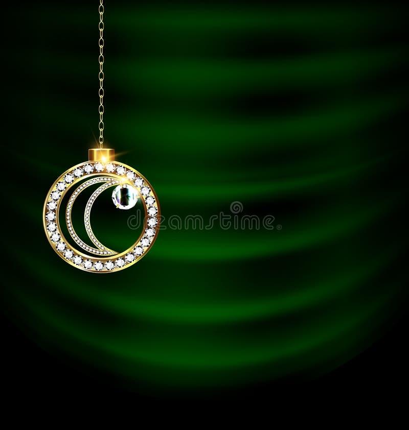 El verde cubre con la luna de la Navidad de la joya stock de ilustración