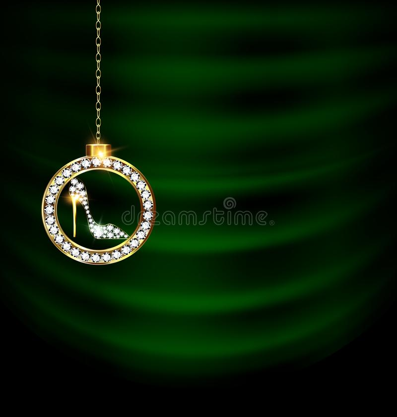 El verde cubre con el zapato de la Navidad de la joya libre illustration