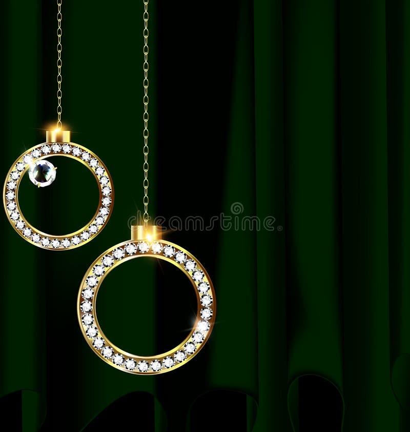 El verde cubre y jewel bolas de la Navidad stock de ilustración