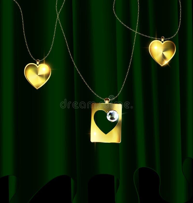 El verde cubre y los colgantes de oro stock de ilustración