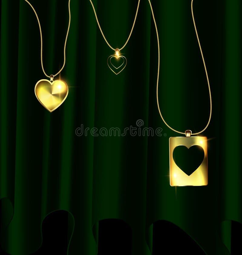 El verde cubre y los colgantes de oro del corazón libre illustration