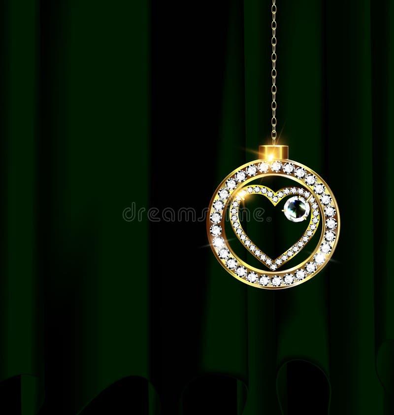 El verde cubren y la bola de la Navidad de la joyería ilustración del vector