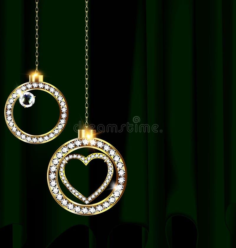 El verde cubren y las bolas de la Navidad de la joyería libre illustration