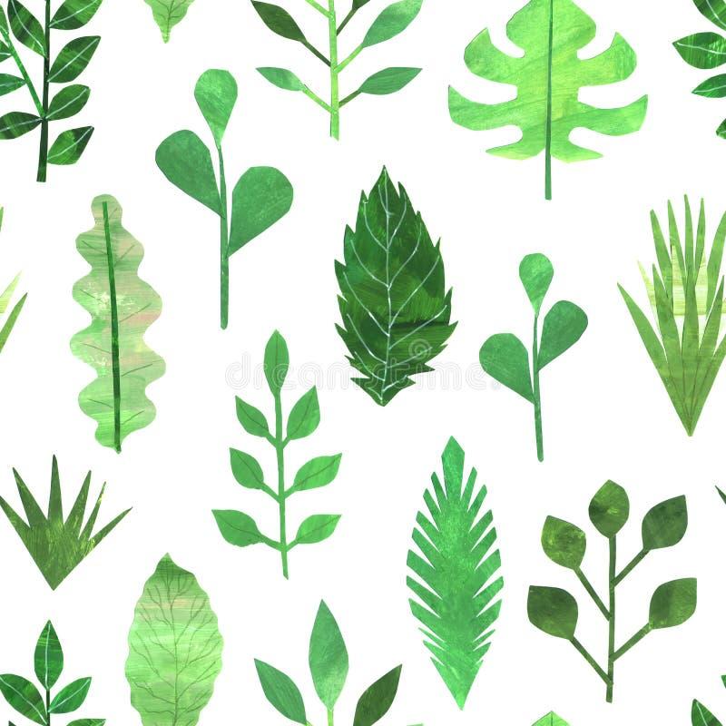 El verde de papel del collage deja el modelo inconsútil imagenes de archivo