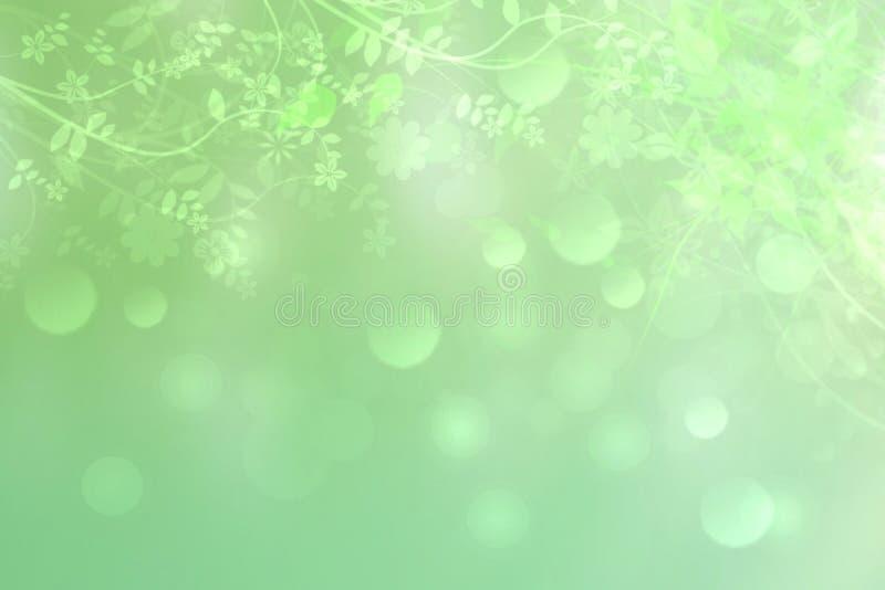El verde deja el backgrund Frontera verde fresca de las hojas del extracto en fondo verde delicado Textura soleada hermosa del co stock de ilustración