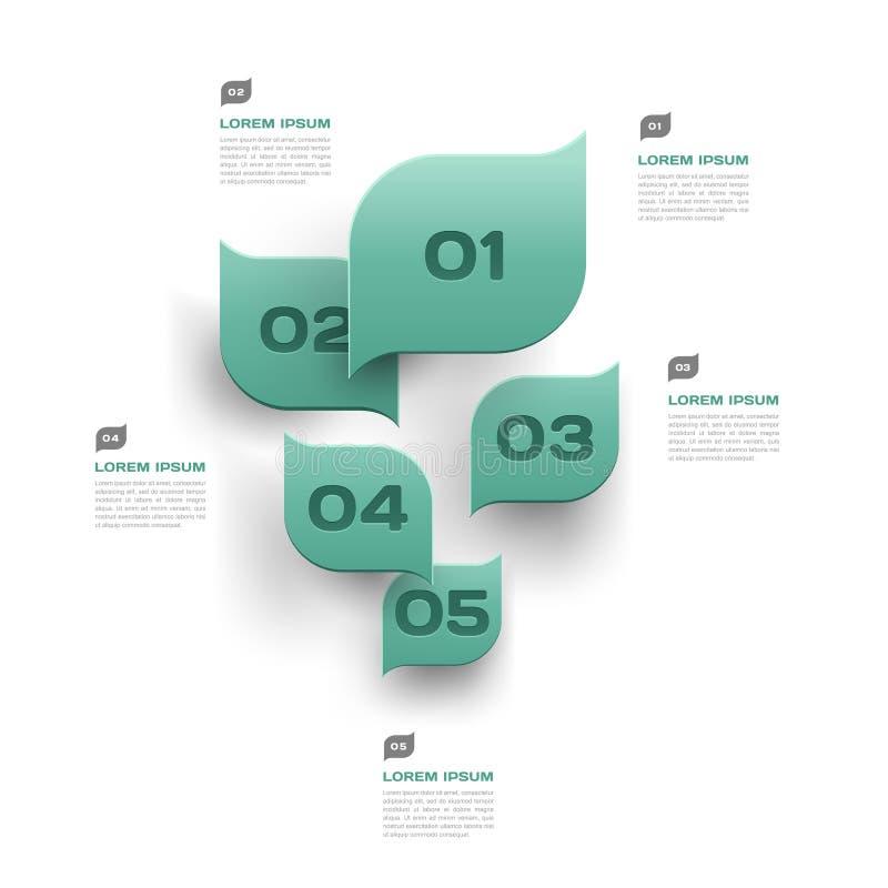 El verde deja el fondo abstracto - 3d el diseño de papel del infographics stock de ilustración