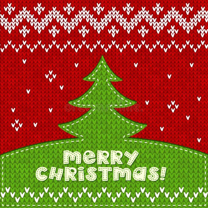 El verde hizo punto el fondo del applique del árbol de navidad libre illustration