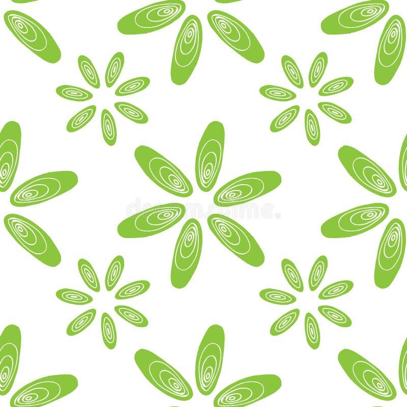 El verde inconsútil del modelo descasca las flores de los mejillones ilustración del vector