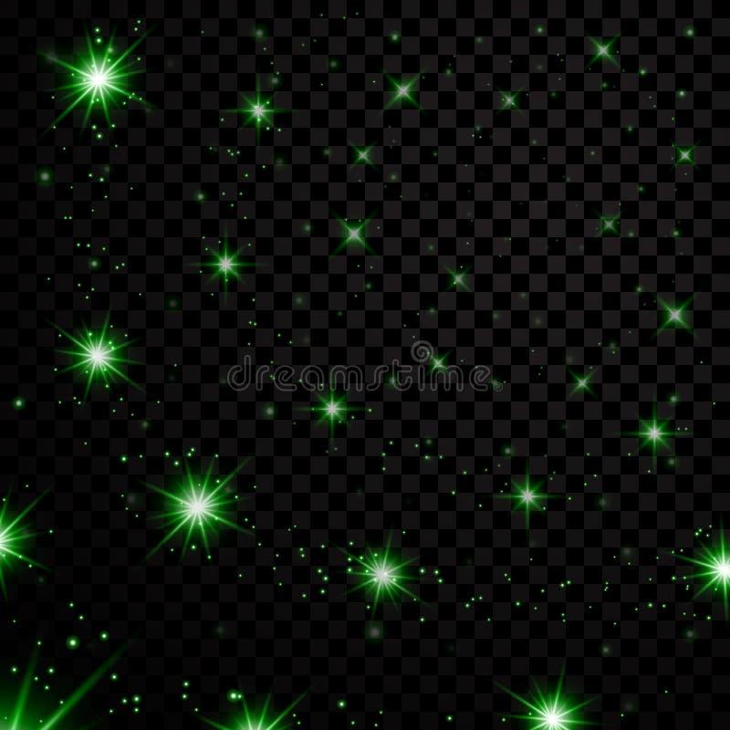 El verde protagoniza el cielo nocturno negro en fondo transparente Brillo ligero abstracto Chispas de la fantasía Textura de la N stock de ilustración